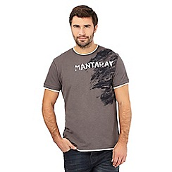 Mantaray - Dark grey textured logo t-shirt