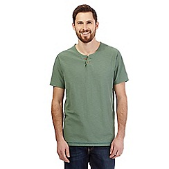 Mantaray - Big and tall green textured notch neck t-shirt