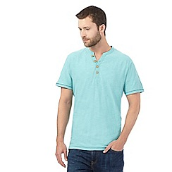 Mantaray - Big and tall aqua y neck top