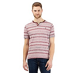 Mantaray - Dark red striped print grandad top
