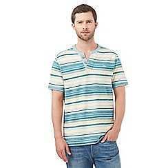 Mantaray - Big and tall green striped notch neck top