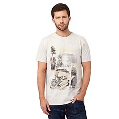Mantaray - Big and tall natural sepia motorbike print t-shirt