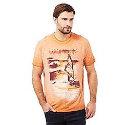 Mantaray - Big and tall orange windsurf print t-shirt