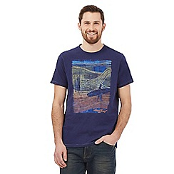 Mantaray - Big and tall navy surf embroidered crew neck t-shirt