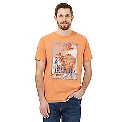Mantaray - Big and tall orange aloha surf print t-shirt