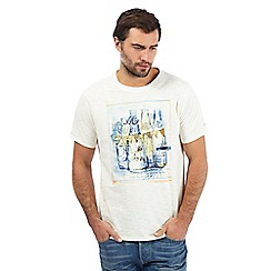 Mantaray - Big and tall pale yellow 'Summer Festival' print t-shirt