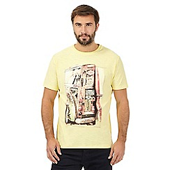 Mantaray - Big and tall yellow surfer print t-shirt