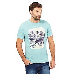 Mantaray - Light green surf shack print t-shirt