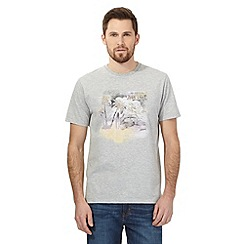 Mantaray - Big and tall grey marl beach scene print t-shirt