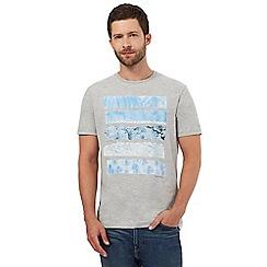Mantaray - Big and tall grey palm tree print t-shirt