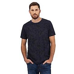 Mantaray - Big and tall grey and navy tropical leaf print t-shirt