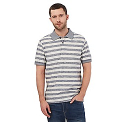 Mantaray - Big and tall grey block striped print polo shirt