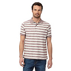 Mantaray - Big and tall dark red block striped print polo shirt