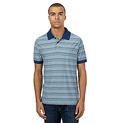Mantaray - Blue feeder striped print polo shirt