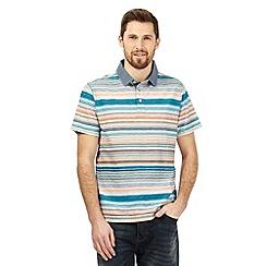 Mantaray - Turquoise striped print polo shirt