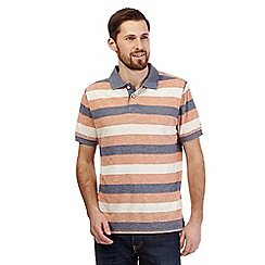 Mantaray - Big and tall orange textured stripe print polo shirt