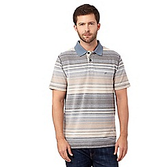 Mantaray - Big and tall blue birdseye pique striped polo shirt