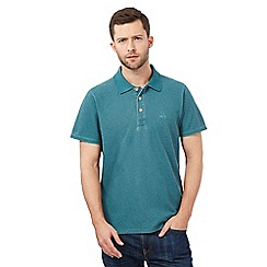 Mantaray - Dark green pique print polo shirt