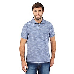 Mantaray - Blue birdseye textured polo shirt