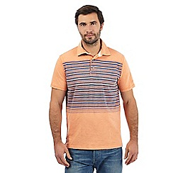 Mantaray - Big and tall orange striped print polo shirt