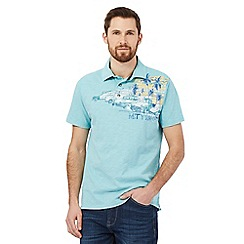 Mantaray - Big and tall light blue vehicle print polo shirt