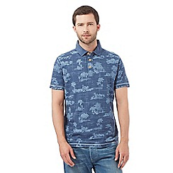 Mantaray - Navy Hawaiian print polo shirt