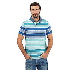 Mantaray - Blue and green block stripe print polo shirt