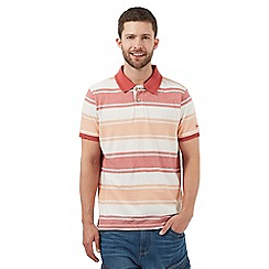Mantaray - Big and tall orange herringbone striped polo shirt