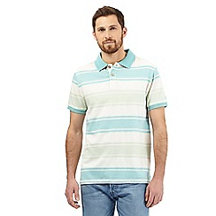 Mantaray - Turquoise and white herringbone striped printed polo shirt
