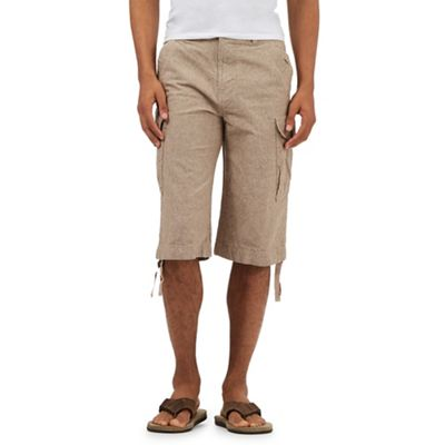 Mantaray Tan linen blend cargo shorts