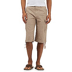 Mantaray - Big and tall tan linen blend cargo shorts
