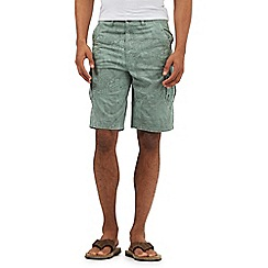 Mantaray - Big and tall light green tile print cargo shorts