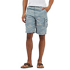 Mantaray - Big and tall light blue palm tree print cargo shorts