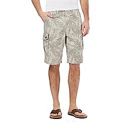 Mantaray - Big and tall beige palm print cargo shorts