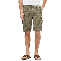 Mantaray - Big and tall khaki palm print cargo shorts
