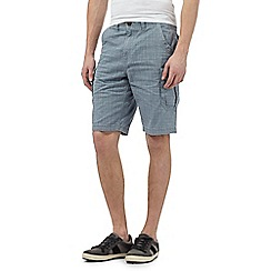 Mantaray - Big and tall light blue grid print cargo shorts