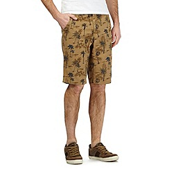 Mantaray - Big and tall tan palm tree print shorts