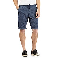 Mantaray - Big and tall blue chambray print chino shorts