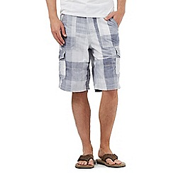 Mantaray - Big and tall blue checked cargo shorts