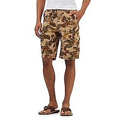Mantaray - Big and tall tan floral print cargo shorts