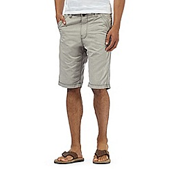 Mantaray - Big and tall light grey textured stripe chino shorts