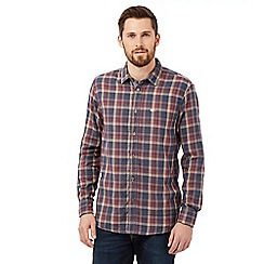 Mantaray - Big and tall navy checked long sleeved shirt