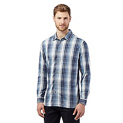 Mantaray - Big and tall blue square checked shirt