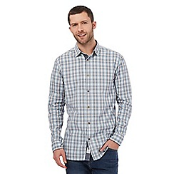 Mantaray - Big and tall light blue shadow check shirt