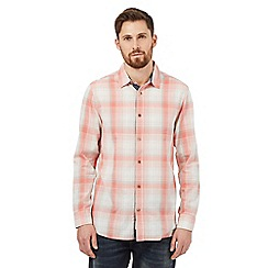 Mantaray - Big and tall peach checked print shirt