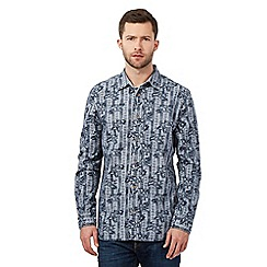 Mantaray - Big and tall navy floral striped shirt
