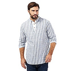 Mantaray - Big and tall blue striped kaftan shirt