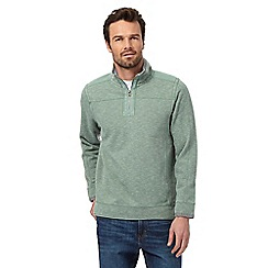 Mantaray - Big and tall green pique zip neck jumper
