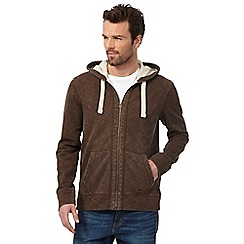 Mantaray - Big and tall brown pique hoodie
