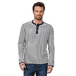 Mantaray - Big and tall navy striped grandad jumper
